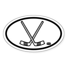 Hockey Sticks and Puck Oval Stickers