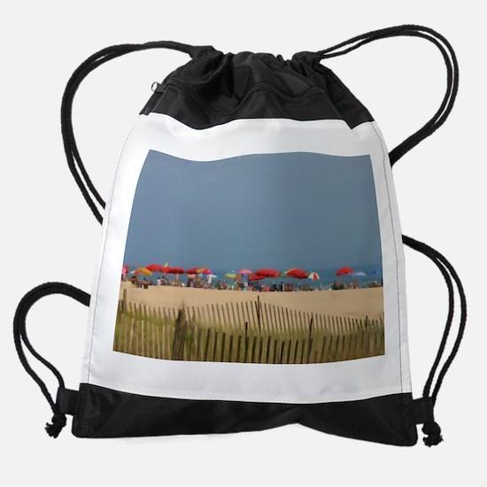 Cape May, NJ Beach Umbrellas Drawstring Bag