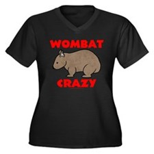 Wombat Crazy Women's Plus Size V-Neck Dark T-Shirt