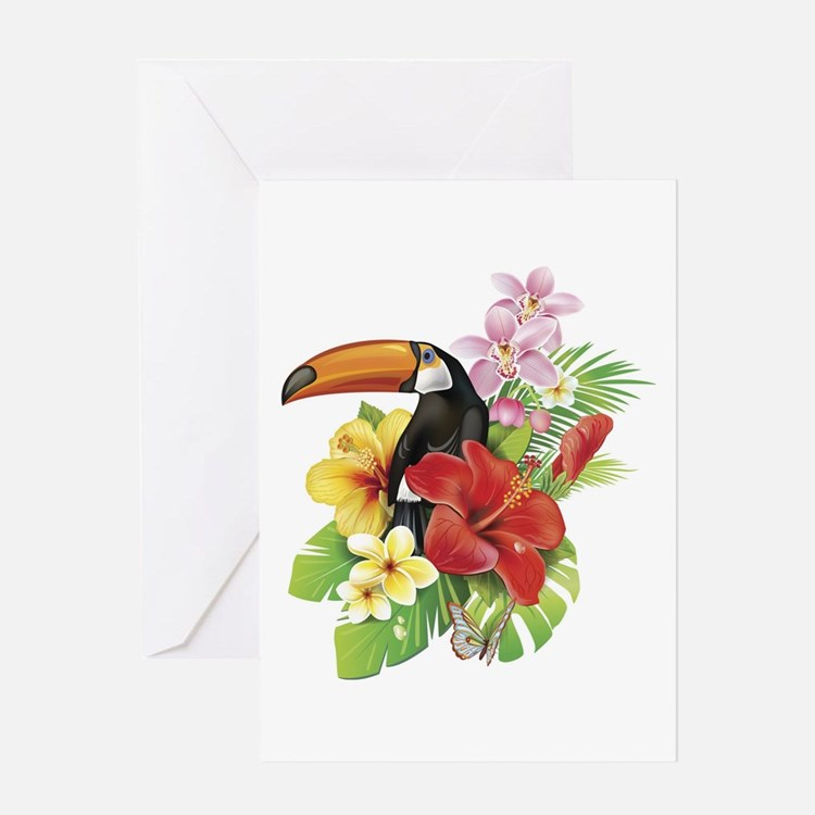 Toucan and Flowers Greeting Card