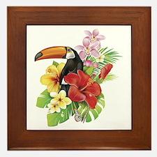 Toucan and Flowers Framed Tile