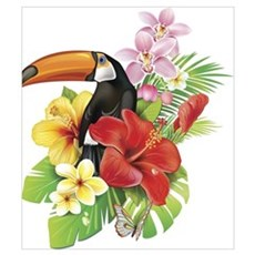 Toucan and Flowers Poster