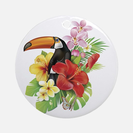 Toucan and Flowers Round Ornament