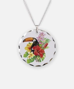 Toucan and Flowers Necklace