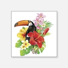 """Toucan and Flowers Square Sticker 3"""" x 3"""""""