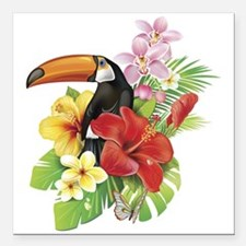"""Toucan and Flowers Square Car Magnet 3"""" x 3"""""""