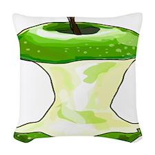 Green Apple Core Woven Throw Pillow