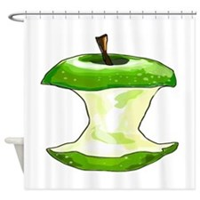 Green Apple Core Shower Curtain