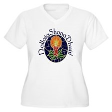 Christmas Stained Glass Plus Size V-Neck T-Shirt