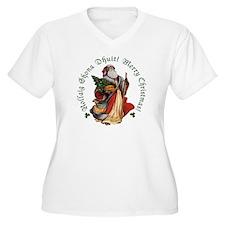 Irish Santa (Gaelic/English)Plus Size V-Neck Shirt