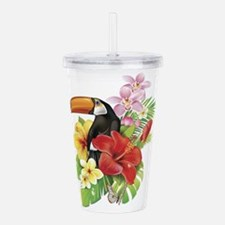 Toucan and Flowers Acrylic Double-wall Tumbler
