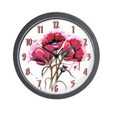 Red Dripping Poppies 2 Wall Clock