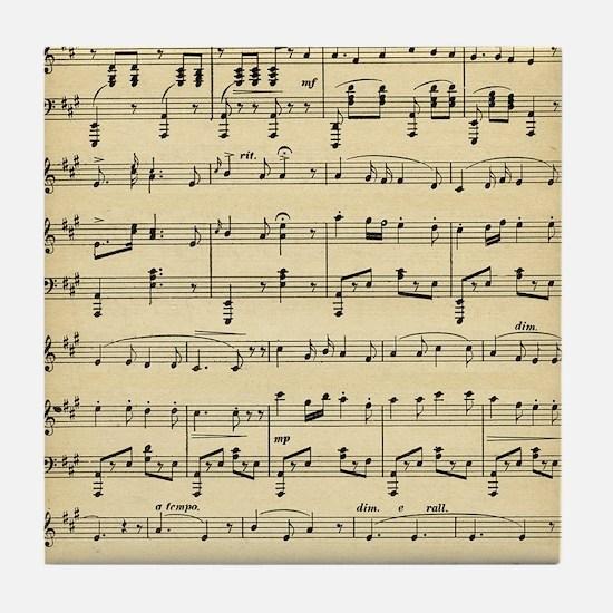 Old Sheet Music Tile Coaster