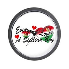 Loves a Sicilian Boy Wall Clock