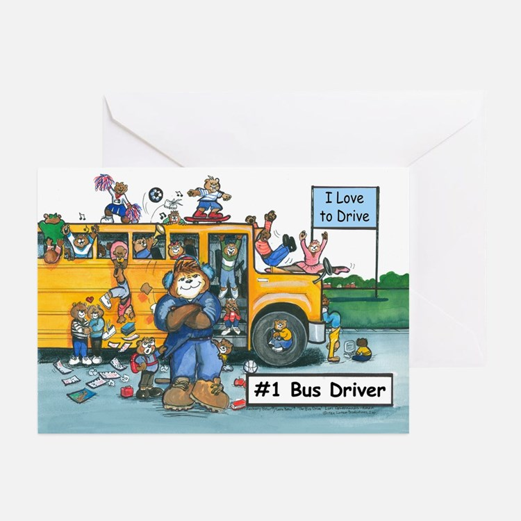 Male Bus Driver Greeting Cards (Pk of 20)