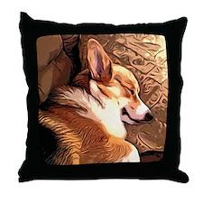 Sleepy Tricolor Corgi Throw Pillow