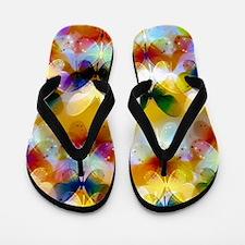 colorful glowing butterflies Flip Flops