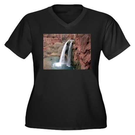 Havasupai Falls Women's Plus Size V-Neck Dark T-Sh