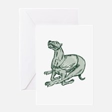 Greyhound Dog Racing Side Etching Greeting Cards