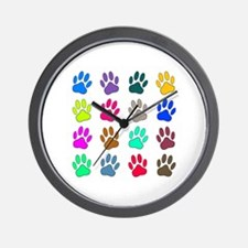 Multicolored Dog Paw Print Pattern Wall Clock