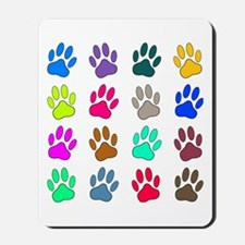 Multicolored Dog Paw Print Pattern Mousepad
