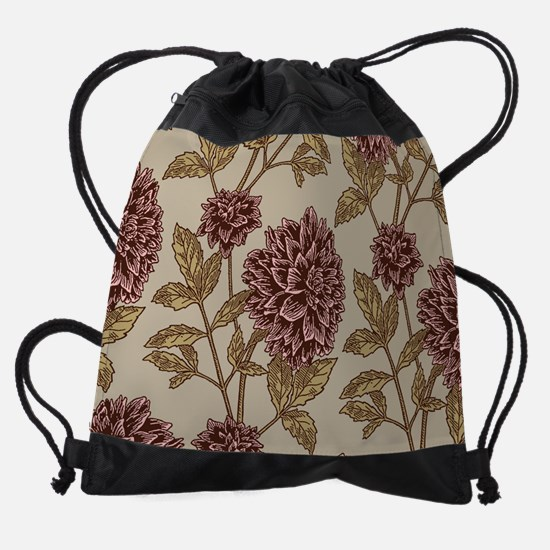 Vintage Dahlia Pattern Drawstring Bag