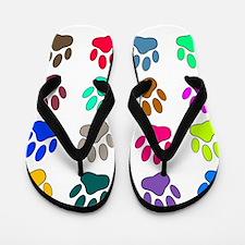 Multicolored Dog Paw Print Pattern Flip Flops