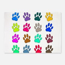 Multicolored Dog Paw Print Pattern 5'x7'Area Rug