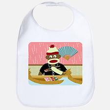 Sock Monkey Sushi Boat Baby Bib