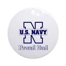 Proud Navy Dad Ornament (Round)