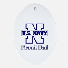 Proud Navy Dad Oval Ornament