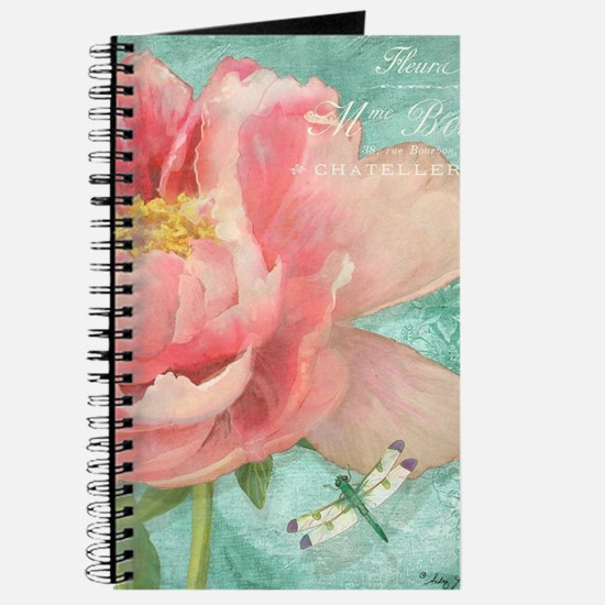 Fleurs - Peony Garden Flower w Dragonfly Journal