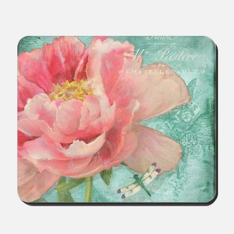 Fleurs - Peony Garden Flower w Dragonfly Mousepad