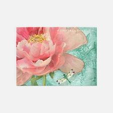 Fleurs - Peony Garden Flower w Drag 5'x7'Area Rug