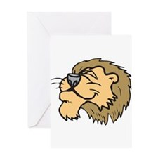Silly Grinning Lion Head Greeting Card