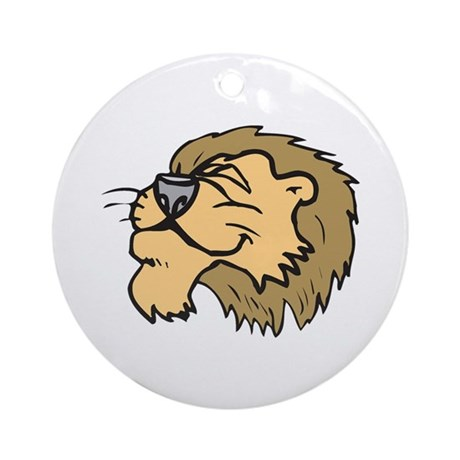 Silly Grinning Lion Head Ornament (Round)
