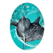 Funny dolphin Ornament (Oval)