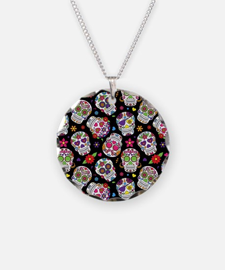Colorful Sugar Skulls On Black Necklace