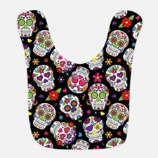 Colorful Sugar Skulls On Black Bib