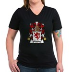 Allemand Family Crest Women's V-Neck Dark T-Shirt