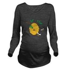 Bee Hive Long Sleeve Maternity T-Shirt