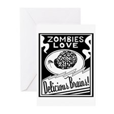 Zombies / Delicious Brains Greeting Card -Pk of 10