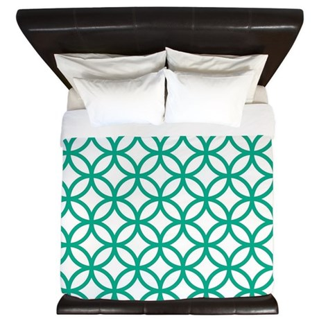 Green Decorative Pattern King Duvet