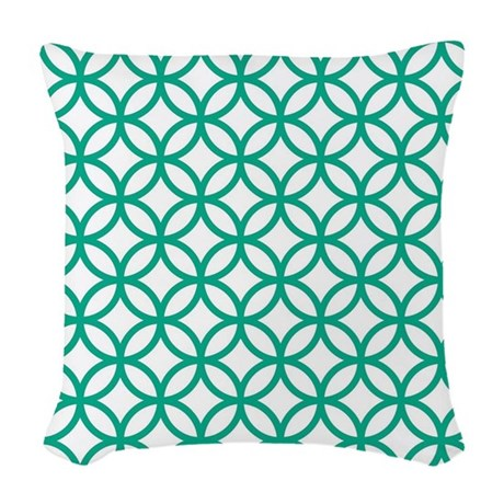 Green Decorative Pattern Woven Throw Pillow