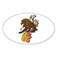 Lion & Flames/Fire Design Oval Decal