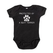 Protected By A Silky Terrier Baby Bodysuit