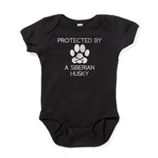Protected By A Siberian Husky Baby Bodysuit