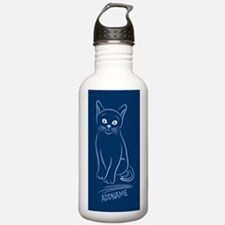 Navy Hand Drawn Cat Pe Water Bottle
