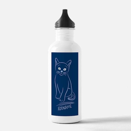 Navy Hand Drawn Cat Pe Water Bottle