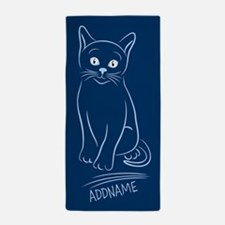 Navy Hand Drawn Cat Personalized Beach Towel